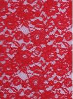 Çiçek Desenli Kordoneli Pamuk Dantel - Kırmızı - K9036