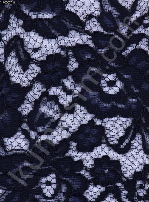 Çiçek Desenli Kordoneli Pamuk Dantel - Lacivert - K9036