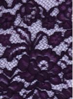 Çiçek Desenli Kordoneli Pamuk Dantel - Mor - K9036