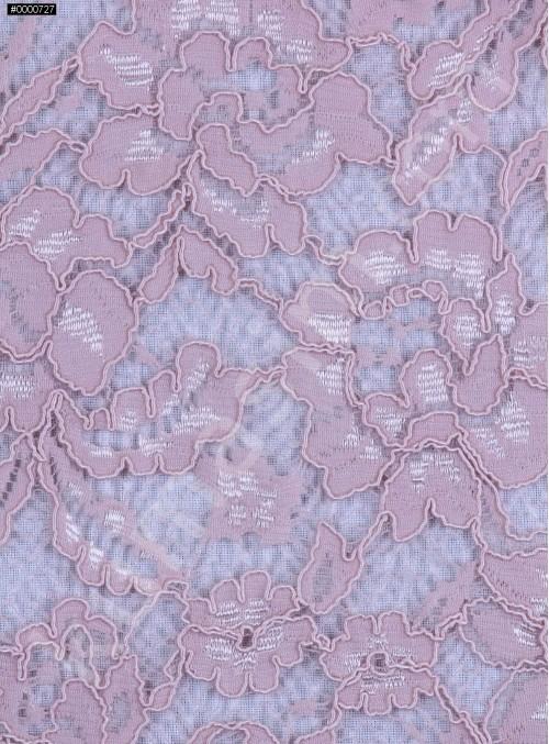 Çiçek Desenli Kordoneli Pamuk Dantel - Pudra - K9036