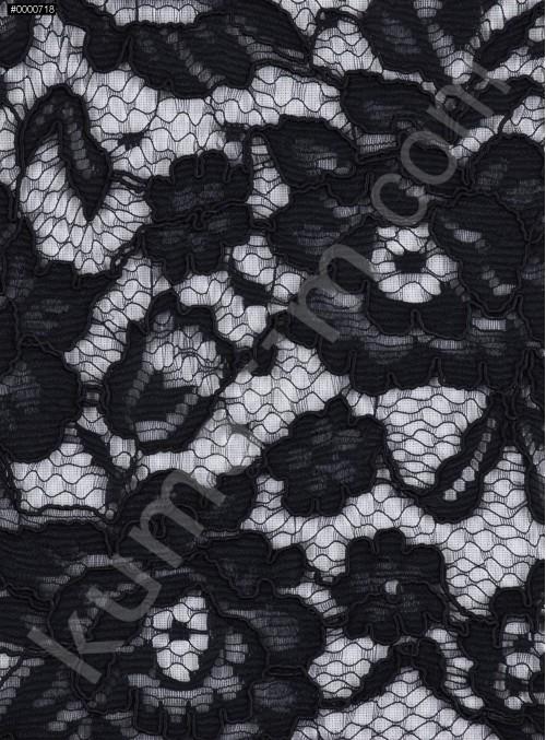 Çiçek Desenli Kordoneli Pamuk Dantel - Siyah - K9036