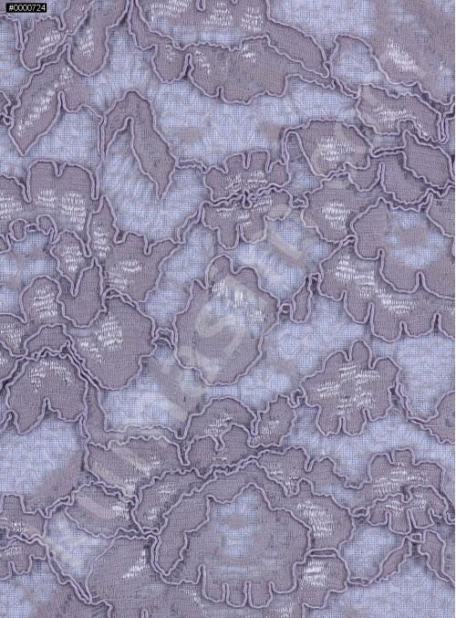 Çiçek Desenli Kordoneli Pamuk Dantel - Vizon - K9036