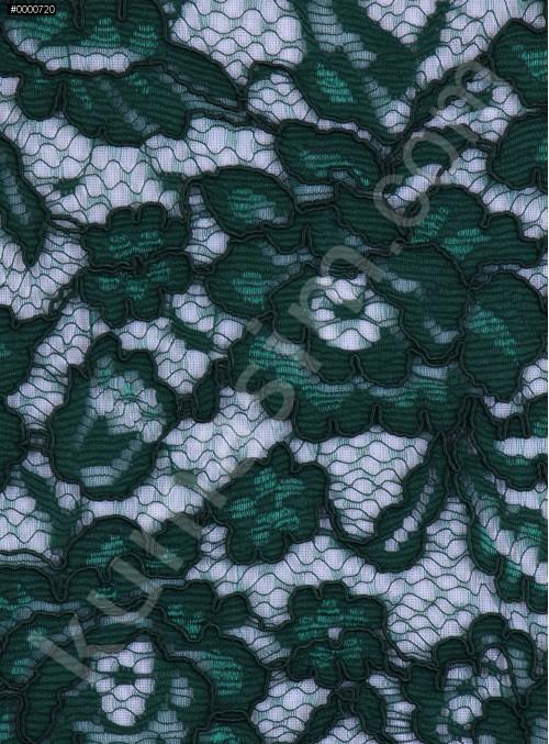 Çiçek Desenli Kordoneli Pamuk Dantel - Zümrüt - K9036