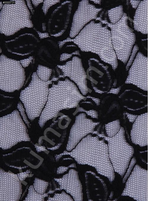 Yaprak Desenli Dantel Kumaş - Siyah - K9039