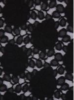 Çiçek Desenli Dantel Kumaş - Siyah - K9040