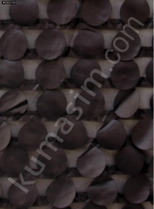 Yuvarlak Desenli Siyah Saten Kumaş - K9047