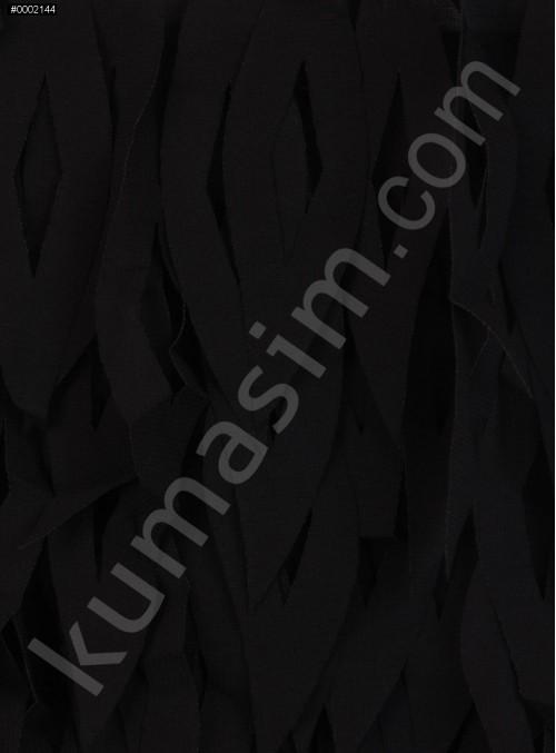 Şifon Üzeri Lazer Kesim Siyah Kumaş - K9048
