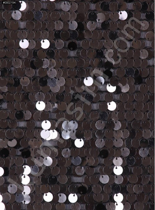 7 MM Büyük Payetli Antrasit Payetli Kumaş - K9061