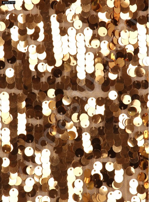 7 MM Büyük Payetli Gold Payetli Kumaş - K9061