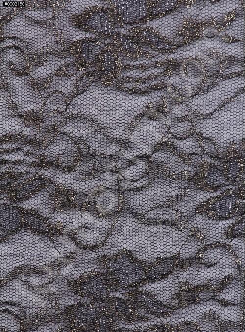 Gold Simli İnce Siyah Dantel Kumaş - K9065