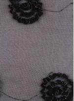 Tül Üzeri Üç Boyutlu Siyah Lase Kumaş - K9066