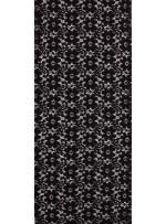 Çiçek ve Şal Desenli Dantel Kumaş - Siyah - K9069