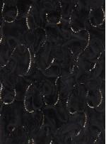 Kürk Üzeri Lase ve Payetli Abiyelik Gold Payetli Siyah Kumaş - K9074