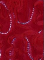 Kürk Üzeri Lase ve Payetli Abiyelik Kırmızı Kumaş - K9074