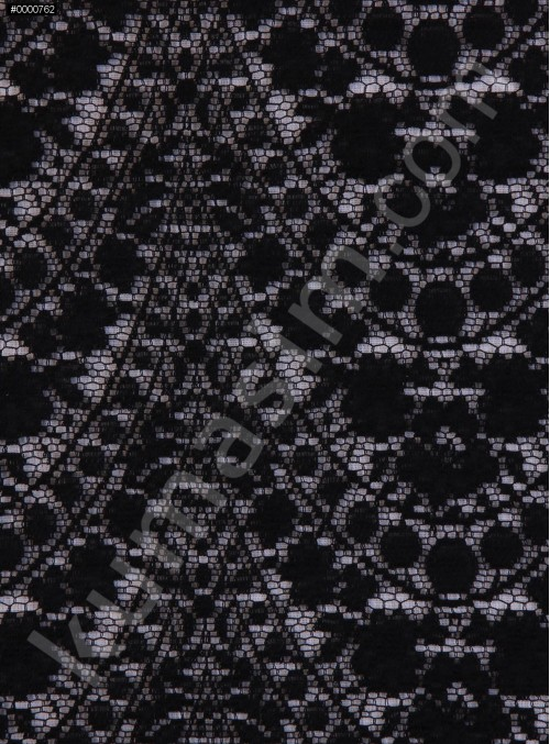 Dalga Desenli Dantel Kumaş - Siyah - K9079