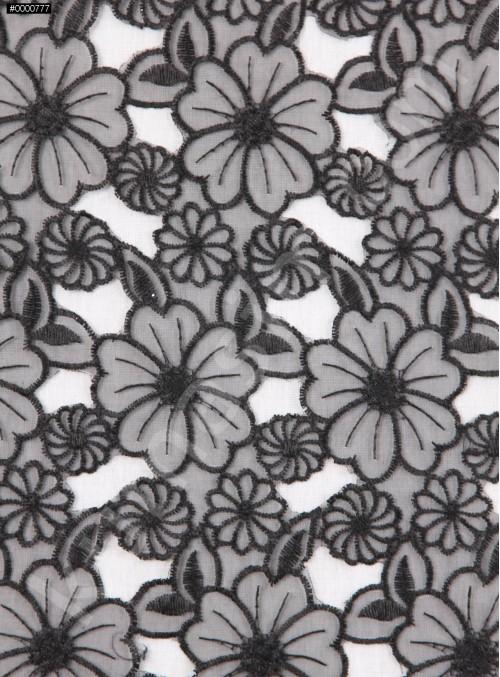 Çiçek Desenli Organze Kumaş - Siyah - K9105