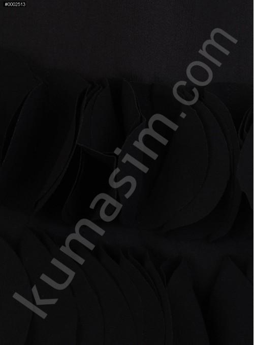 Etek Uçları Lazer Kesimli Siyah Şifon Kumaş - K9106