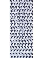 Siyah ve Kemik Yapraklı Desenli Payetli File Kumaş - K9111