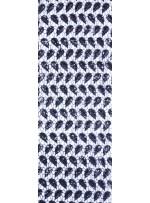 Siyah Yapraklı Desenli Payetli File Kumaş - K9111