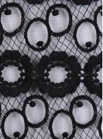 Halka Daire Yuvarlak Desenli Siyah Güpür Kumaş - K9120