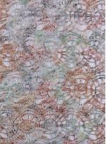 Örümcek Desenli Çift Renkli Turuncu Yeşil Payetli File Kumaş - K9121