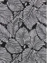 Yaprak Desenli Siyah Beyaz Payetli Abiyelik Kumaş - K9133