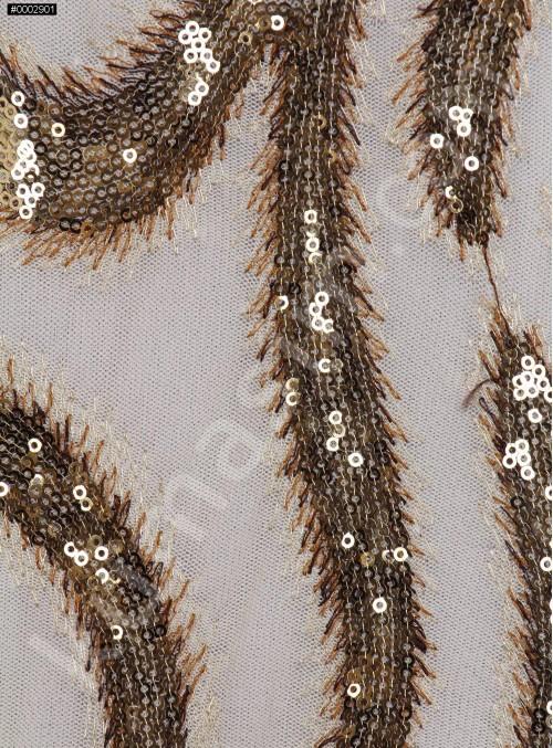 Damar Desenli Gold Payetli Abiyelik Kumaş - K9141