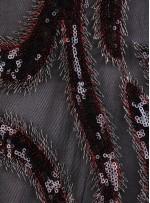 Damar Desenli Siyah Payetli Abiyelik Kumaş - K9141