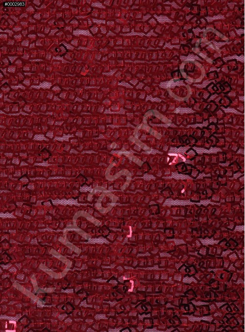 Kare Halka Payetli Kırmızı Abiyelik Kumaş - K9144
