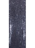Kare Halka Payetli Siyah Tül - Gümüş Abiyelik Kumaş - K9144