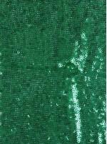 Kare Halka Payetli Yeşil Abiyelik Kumaş - K9144