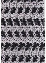 File Üzeri Yaprak Desenli Siyah Güpür Kumaş - K9152