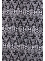 Etnik Desenli Siyah Abiyelik Güpür Kumaş - K9157
