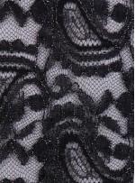 Şal Desenli Kordoneli Siyah Dantel Kumaş - K9169