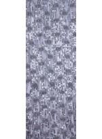 Gül Desenli Lase ve Payetli File Kumaş - Gümüş - K9176