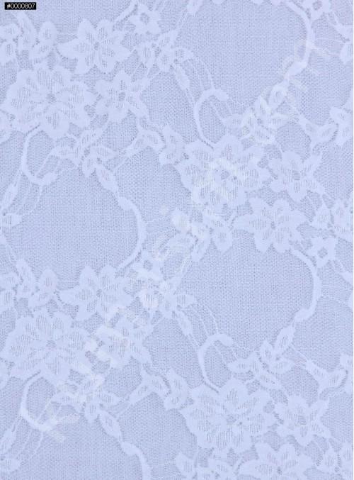 Çiçek Desenli İnce Dantel Kumaş - Kemik - K9177