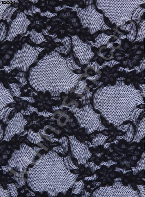 Çiçek Desenli İnce Dantel Kumaş - Siyah - K9177