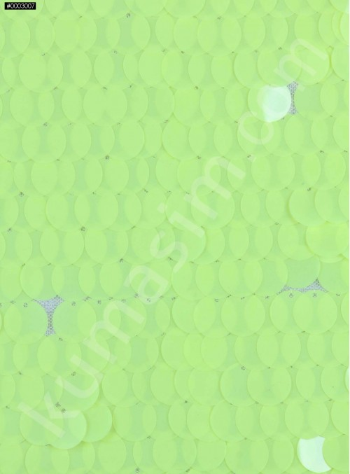 18 MM Büyük Payetli Neon Yeşil Payetli Kumaş - K9179