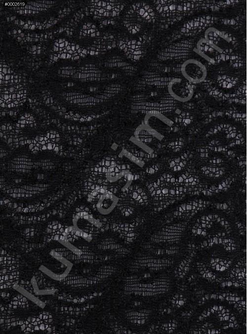 Şal Desenli Siyah Abiyelik Dantel Kumaş - K9187