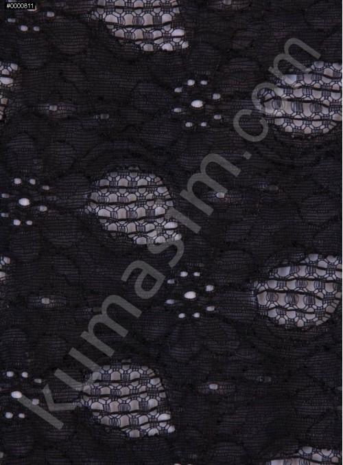 Çiçek Desenli Dantel Kumaş - Siyah - K9188