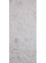 Çiçek Desenli Boncuklu Organze Kumaş - Beyaz - K9189