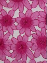 Çiçek Desenli Boncuklu Organze Kumaş - Fuşya - K9189