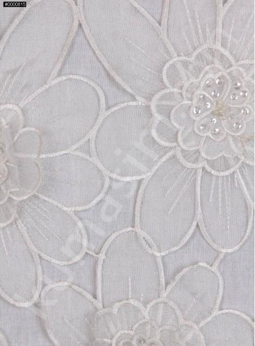 Çiçek Desenli Boncuklu Organze Kumaş - Kemik - K9189