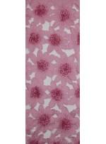 Çiçek Desenli Boncuklu Organze Kumaş - Pudra - K9189