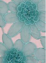 Çiçek Desenli Boncuklu Organze Kumaş - Turkuaz - K9189