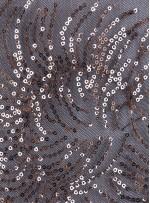 Karışık Desenli Bakır Payetli Abiyelik Kumaş - K9192
