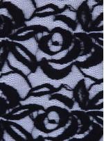 Tül Üzeri Şardonlu ve Kabartmalı Dantel Kumaş - Siyah - K9200