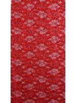 Çiçek Desenli ve Kırmızı Payetli Kordoneli Dantel Kumaş - K9201