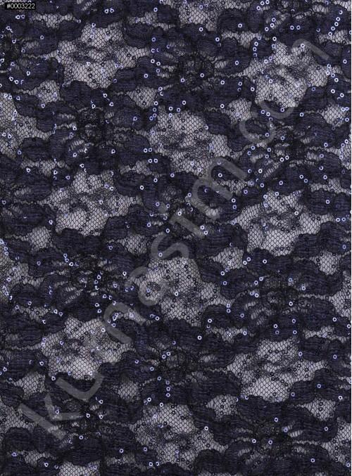 Çiçek Desenli ve Lacivert Payetli Kordoneli Dantel Kumaş - K9201