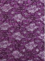 Çiçek Desenli ve Mor Payetli Kordoneli Dantel Kumaş - K9201